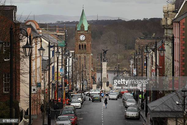 A shopper crosses Bishop Street Within on March 15 2010 in Derry Northern Ireland The Bloody Sunday Inquiry chaired by Lord Saville was established...