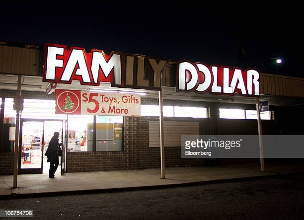 A shopper exits a Family Dollar store in Greensboro North Carolina US on Saturday Nov 6 2010 Family Dollar Stores Inc is promoting a line of $5 toys...