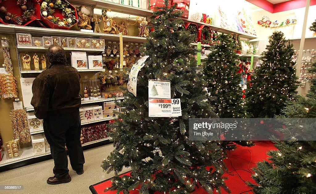 Sears Christmas Photos.A Shopper Looks At Holiday Merchandise Near Christmas