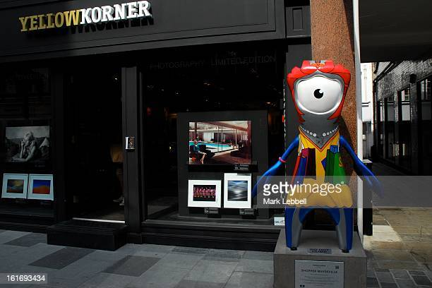 Shopper Mandeville, 2012 Paralympic Mascot public art sculpture installed temporarily outside Yellow Korner on South Moulton Street, Westminster,...