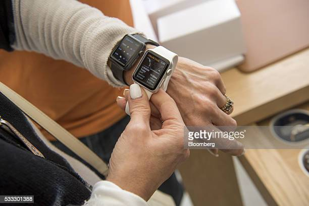 A shopper views an Apple Inc Apple Watch Sport model during the grand opening of the company's new flagship store at Union Square in San Francisco...
