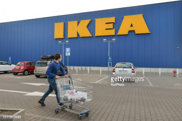 Shopper walks outside IKEA shop in Krakow. From May 4th, the second stage of defrosting the economy and loosening restrictions takes place. The main...