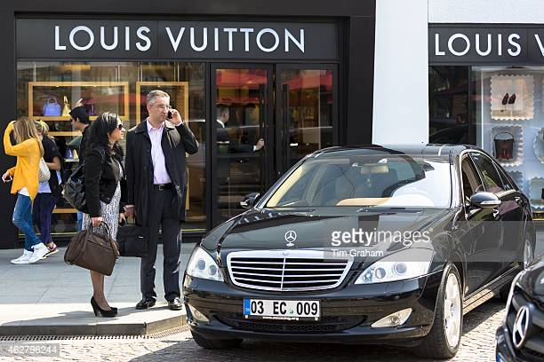 Shoppers and Mercedes by Louis Vuitton shop at Istinye Park shopping mall near Levent business center Istanbul Turkey