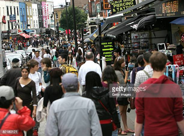 Shoppers and tourists flock to the eclectic mix of retail outlets August 5 2008 in the north London district of Camden Town England The area has been...