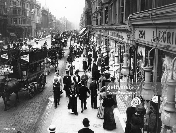 Shoppers and traffic in London's Oxford Street