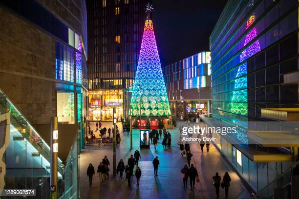 Shoppers are seen in Liverpool One in the city centre as Liverpool enters Tier 2 on December 02, 2020 in Liverpool, England. Last night MPs voted in...