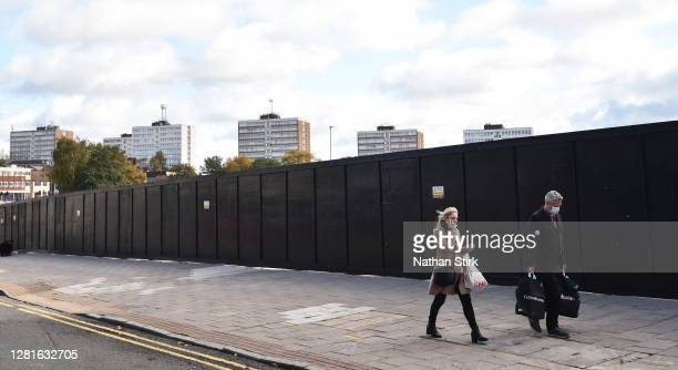 Shoppers are seen in StokeonTrent as it prepares to move up to High Covid Alert Level on October 22 2020 in Hanley StokeonTrent