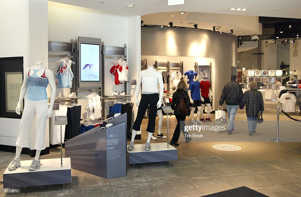 shoppers are seen inside a niketown store march 19  2004 in chicago     news photo