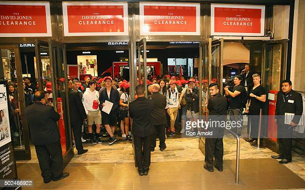 Shoppers are seen lining up at 430am outside David Jones Castlereagh St store during the Boxing Day sales on December 26 2015 in Sydney Australia...