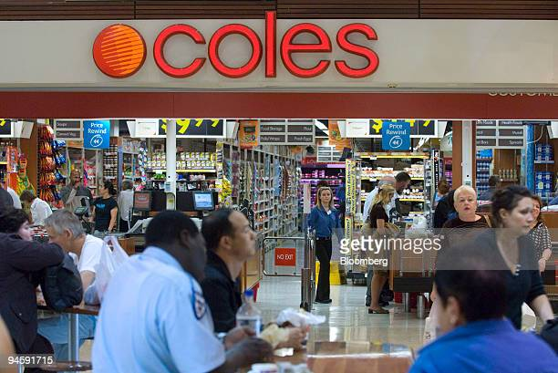 Shoppers are seen outside a Coles Group Ltd supermarket in Sydney Australia on Wednesday May 16 2007 Coles Group Ltd targeted for a takeover by...