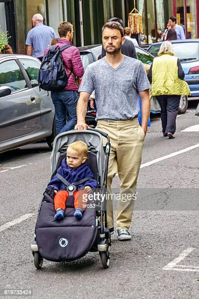 Shoppers at London street market