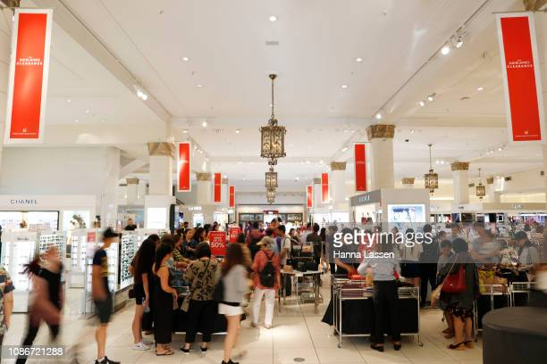 Shoppers at the David Jones Elizabeth St store during the Boxing Day sales on December 26 2018 in Sydney Australia Boxing Day is one of the busiest...