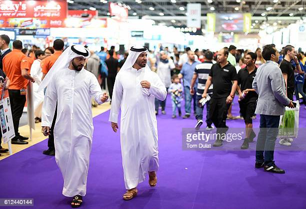 Shoppers attend the first day of GITEX Shopper at Dubai World Trade Centre on October 1 2016 in Dubai United Arab Emirates
