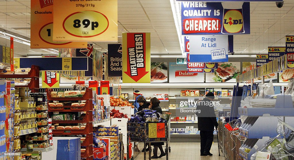 Shoppers Browse At A Lidl Store In Tottenham North London Uk On