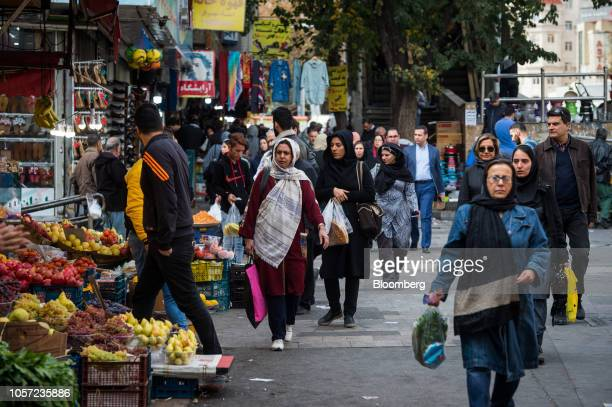 Shoppers browse fruit and vegetable produce for sale at a market in Tehran Iran on Saturday Nov 3 2018 Irans Supreme Leader Ayatollah Khamenei said...