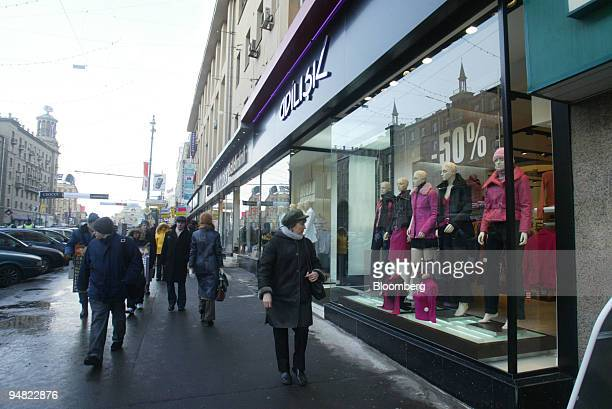 Shoppers browse in Moscow's main shopping street Tverskaya Wednesday March 16 2005