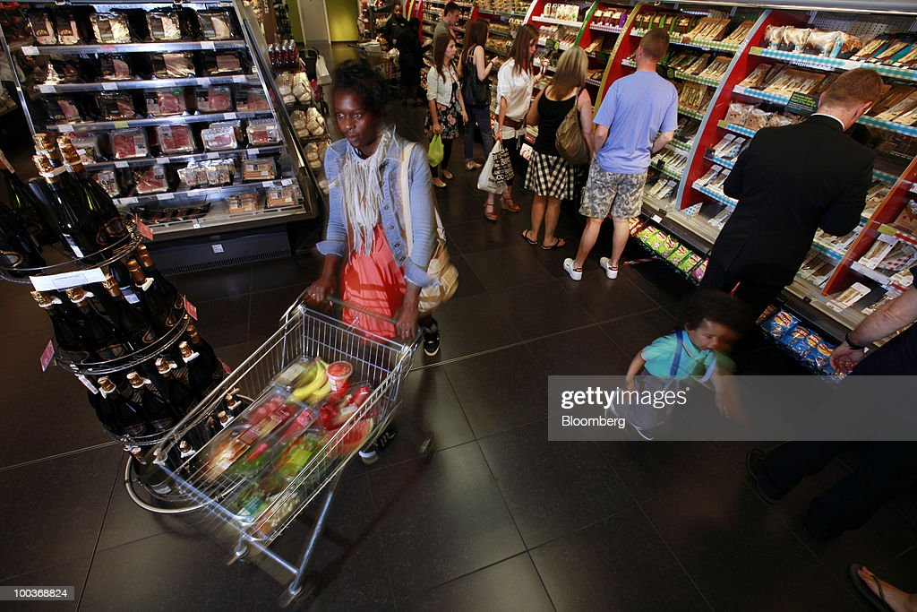 Shoppers browse in the food department at a Marks & Spencer Group Plc (M&S) store in The Westfield Centre shopping mall in London, U.K., on Monday, May 24, 2010. The company, the U.K.'s biggest clothing retailer, reports its full-year earnings tomorrow. Photographer: Jason Alden/Bloomberg via Getty Images