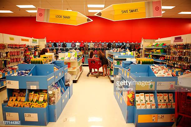 Shoppers browse the back to school section inside a Target Corp store in Torrance California US on Tuesday August 20 2013 Target is expected to...