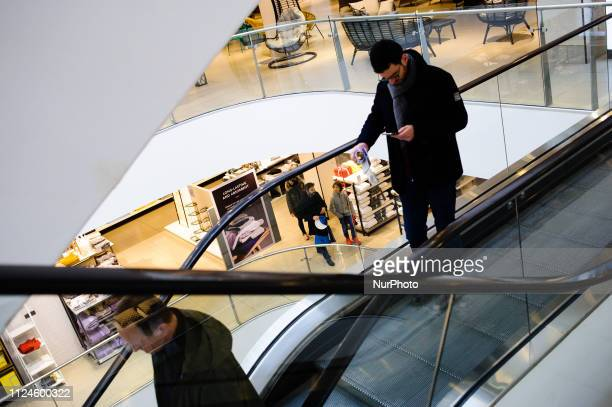 Shoppers browse the John Lewis flagship store on Oxford Street in London England on February 9 2019 February 15 sees the release of the first monthly...