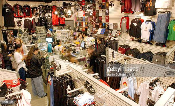 Shoppers browse through a Hot Topic retail store February 5 2002 at the Serramonte Mall in Daly City CA Hot Topic a mallbased retailer of...