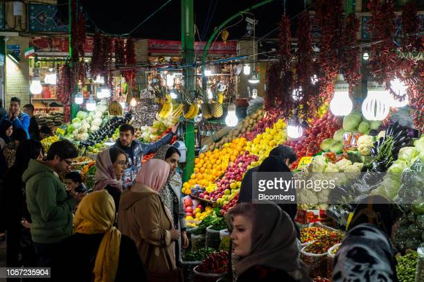 Shoppers browse vegetable produce for sale at a market in Tehran Iran on Saturday Nov 3 2018 Irans Supreme Leader Ayatollah Khamenei said US...