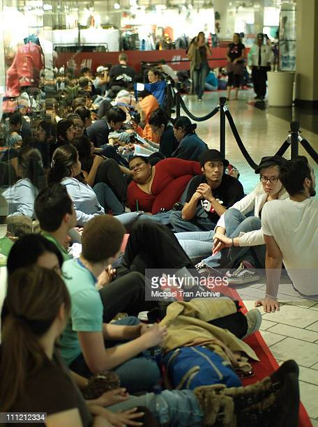H M shoppers camping out in front of store during H M Los Angeles Grand Opening at H M Beverly Center in Los Angeles California United States