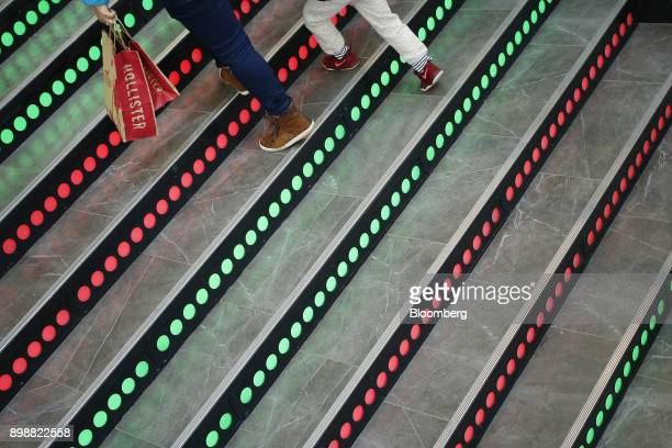 A shoppers carries Hollister Co bags at the Easton Town Center Mall in Columbus Ohio US on Tuesday Dec 26 2017 Americans displayed their buying bona...
