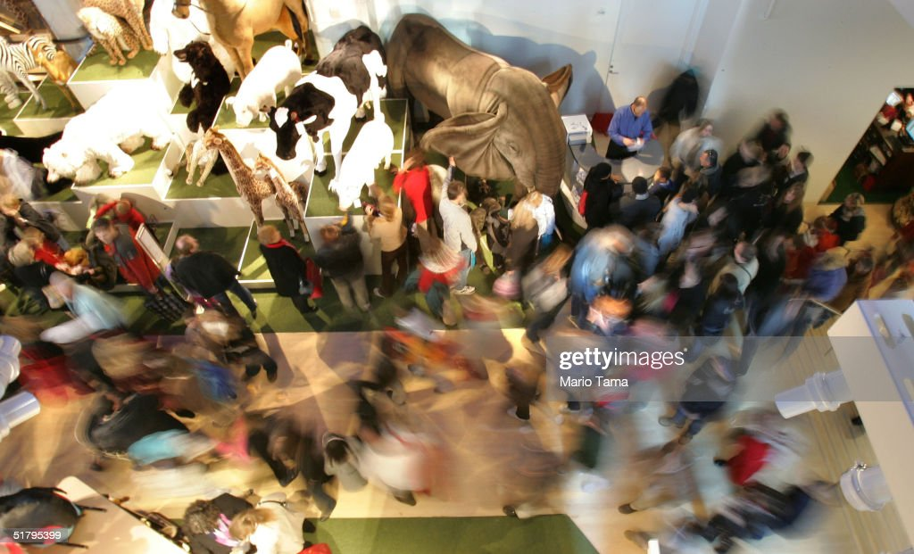 Shoppers crowd FAO Schwarz the day after its grand re-opening November 26, 2004 in New York City. The Friday after Thanksgiving, called 'Black Friday,' is one of the busiest shopping days of the year with stores opening early and a large number of shoppers looking for holiday gifts.