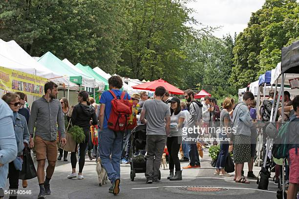 Shoppers Explore Trout Lake Farmers Market, Vancouver, British Columbia, Canada