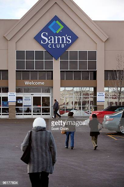 Shoppers head toward a Sam's Club store January 12 2010 in Rolling Meadows Illinois WalMart Stores Inc the parent company of Sam's Club announced...
