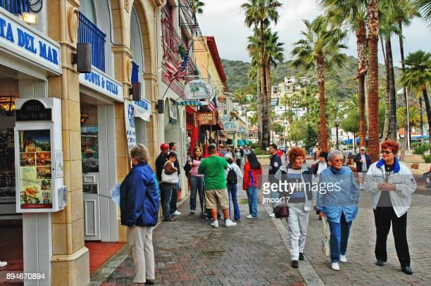 Shoppers in Avalon California on Catalina Island