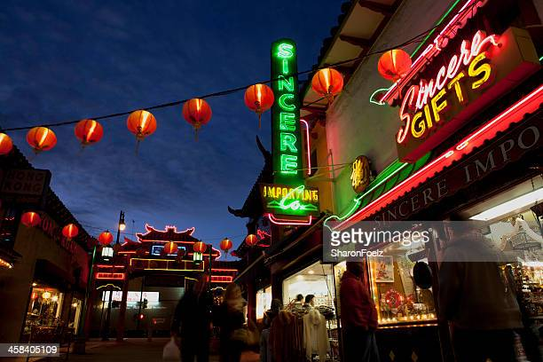Shoppers in Chinatown, Los Angeles at night