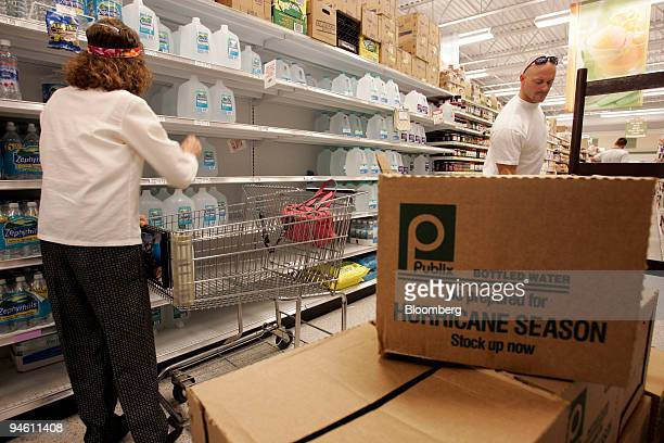 Shoppers in Cocoa Beach Florida stock up on water at a Publix supermarket in Cocoa Beach Florida August 28 in anticipation of Tropical Storm Ernesto