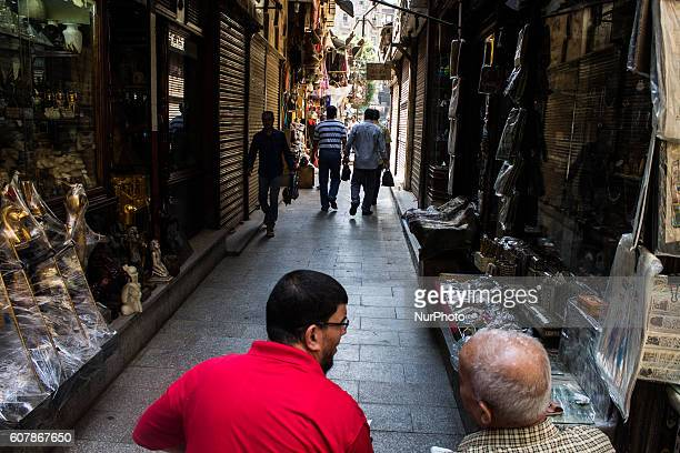 Shoppers in Khan AlKhalili market in Cairo Egypton September 19 2016 The Khan elKhalili is a major souk in the Islamic district of Cairo Egypt The...