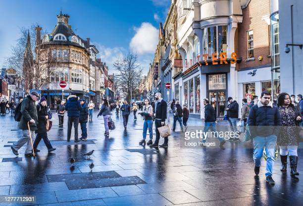 Shoppers in Leicester city centre.