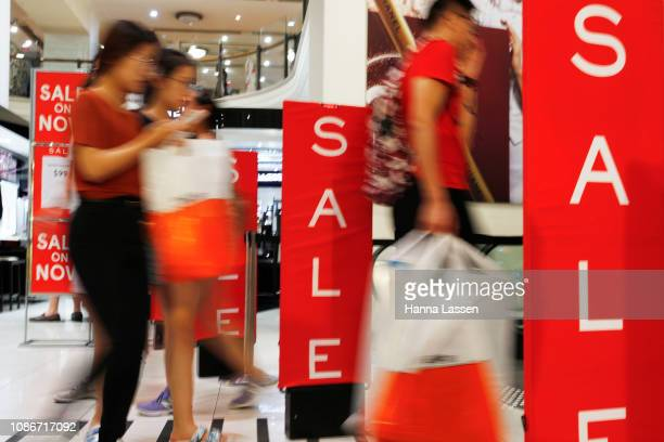 Shoppers in Myer City Store during the Boxing Day sales on December 26 2018 in Sydney Australia Boxing Day is one of the busiest days for retail...