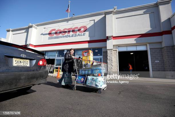 Shoppers in panic buy supplies as fears over COVID19 grow around the world at Costco Wholesale in New Jersey United States on March 7 2020