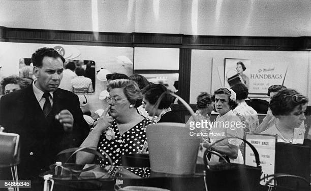 Shoppers in the handbag department of Marks Spencer's Oxford Street branch 10th September 1955 Original Publication Picture Post 7984 Quality Value...
