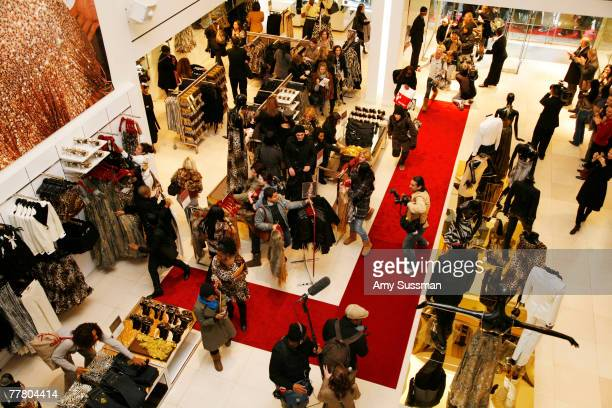 Shoppers inside the store at the launch of designer Roberto Cavalli's new collection at H&M held at the H&M on 5th Avenue on November 8, 2007 in New...