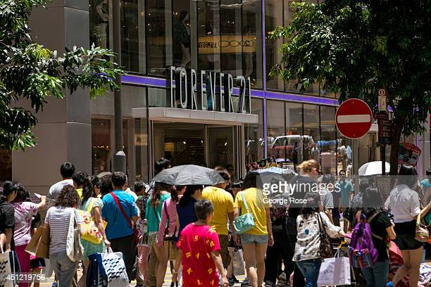 Shoppers jam the Times Square neighborhood and surrounding retail stores on May 25 in Hong Kong, China. Hong Kong, with a population of nearly 8...