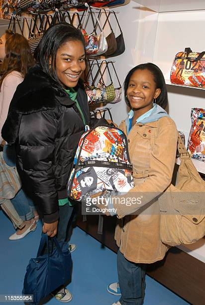 Shoppers Judith Ohikuare and Tatiana Blue during Teen Vogue and LeSportsac Celebrate LAMB Collection at LeSportsac Store Madison Avenue in New York...