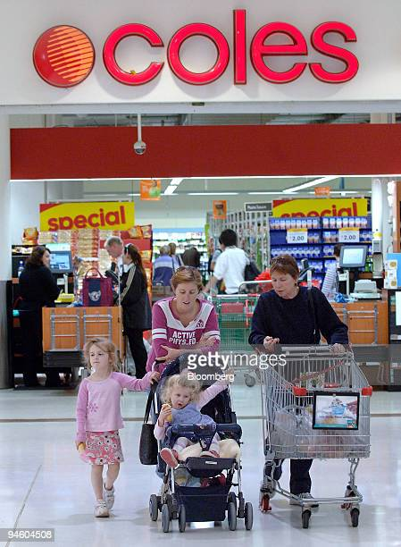 Shoppers leave a Coles supermarket in Warringah Sydney on Wednesday August 16 2006 Coles Myer Ltd Australia's secondbiggest retailer increased...