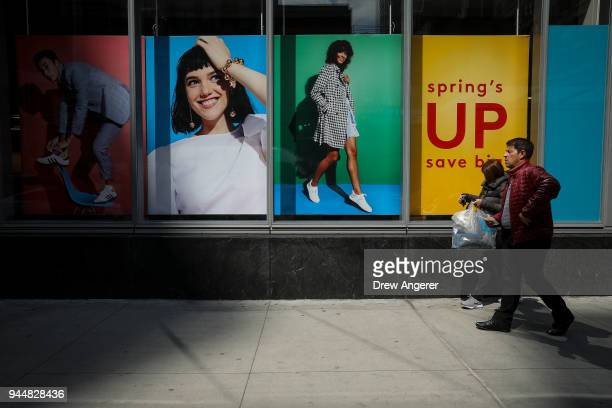 Shoppers leave a Nordstrom Rack store in the Herald Square neighborhood of Manhattan April 11 2018 in New York City US consumer prices rose 24...
