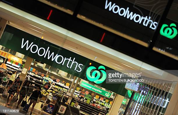 Shoppers leave a Woolworths supermarket in Perth on October 27 2011 Woolworths announced on November 2 it will create 10000 new jobs this financial...