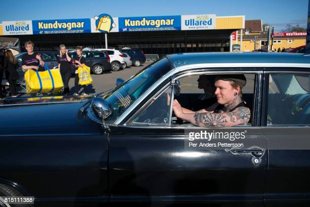 Shoppers leave with their bags on May 5 2017 in Ullared Sweden Ullared is famous for Gekas Sweden's most famous superstore founded in 1963 The shop...