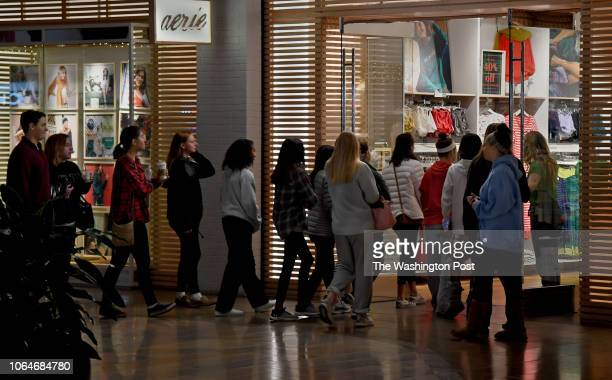Shoppers line up at the door of the aerie store in Columbia Mall just as it was opening at 600am this morning The foot traffic at the Columbia Mall...