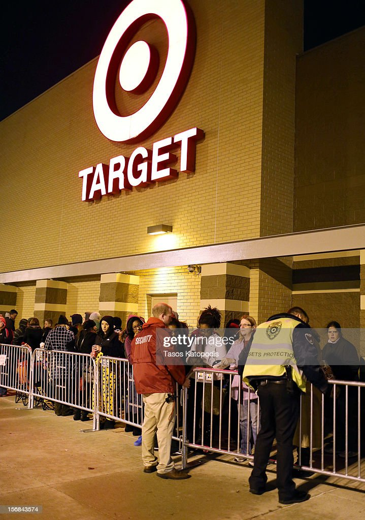 Shoppers line up outside a Target on Thanksgiving night November 22, 2012 in Highland, Indiana. Many stores got a head start on the traditional Black Friday sales by opening on Thanksgiving.
