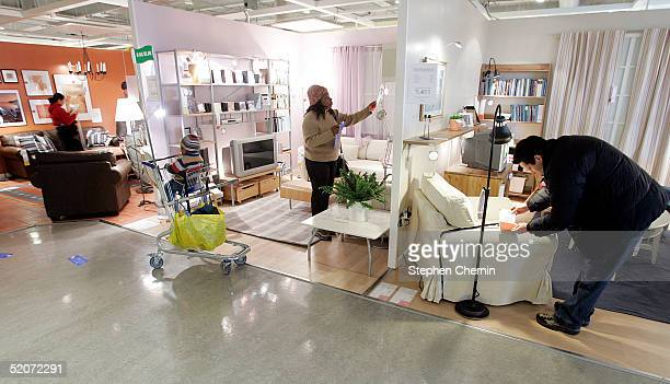 Shoppers look at merchandise at a Ikea store January 27 2005 in Paramus New Jersey Ikea a Swedish company currently has 200 stores worldwide and in...
