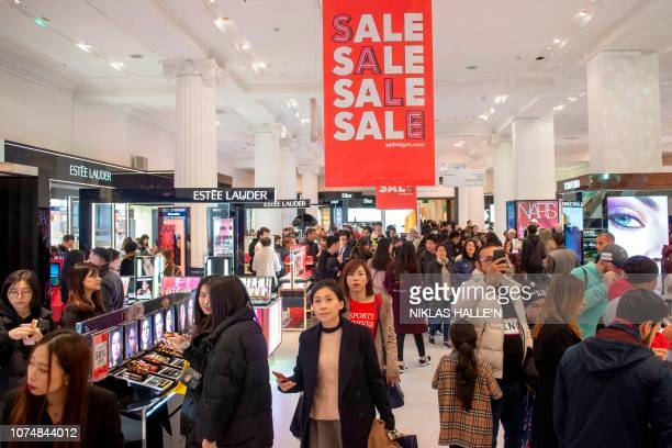 Shoppers look for bargains in Selfridges department store during the Boxing Day sale in central London on December 26 2018 Troubled UK highstreet...