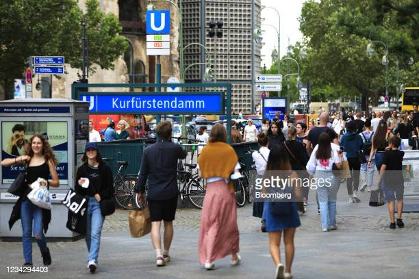 Shoppers near Kurfuestendamm U-Bahn railway station in Berlin, Germany, on Thursday, July 29, 2021. Germany reports gross domestic product figures on...